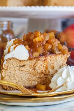 caramel cheese with apple pie filling and homemade caramel sauce; Thanksgiving dessert