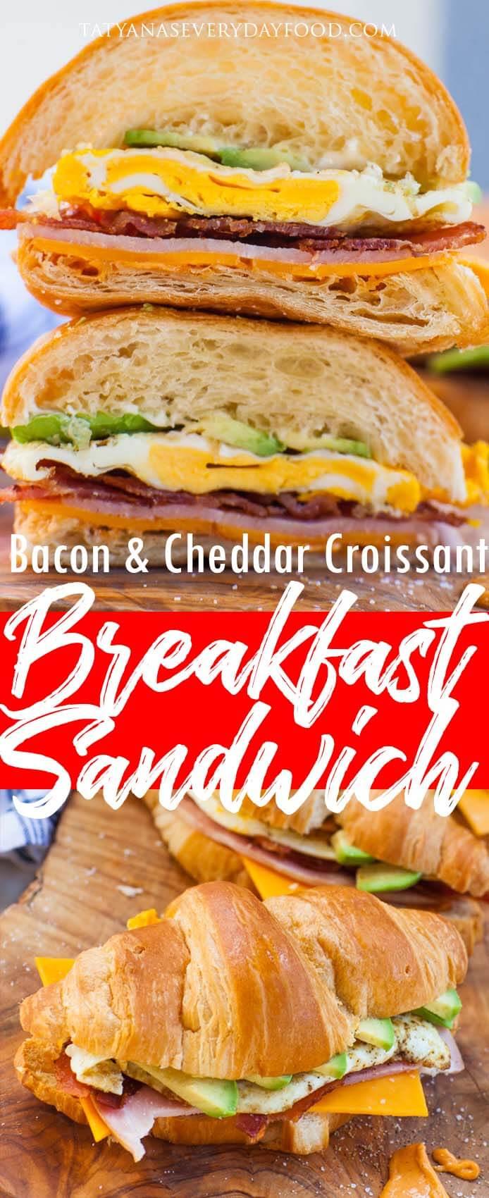 Bacon Cheddar Croissant Sandwich recipe