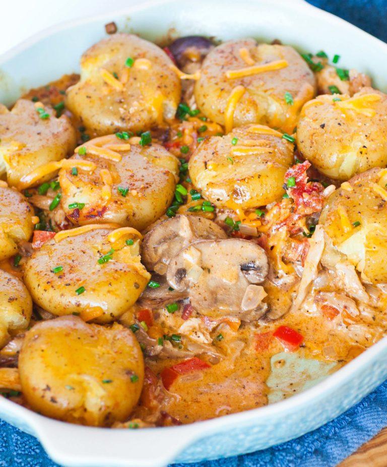 creamy mushroom and chicken casserole with leftover turkey