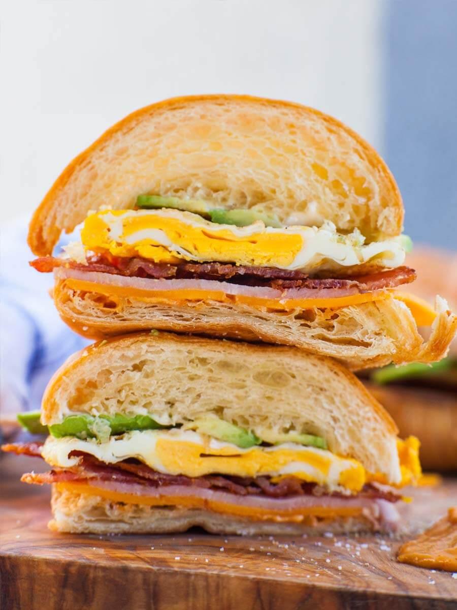 Bacon Cheddar Croissant Breakfast Sandwich