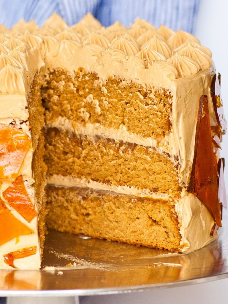 cake slice of caramel cake with dulce de leche