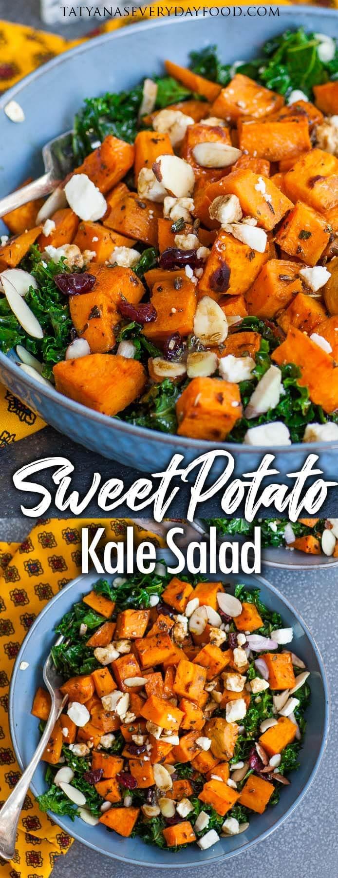 Easy Sweet Potato Kale Salad with video recipe