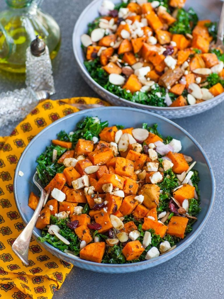 massaged kale salad with oven-roasted sweet potatoes and balsamic dressing