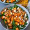 kale and sweet potato salad recipe with crumbled feta and almonds