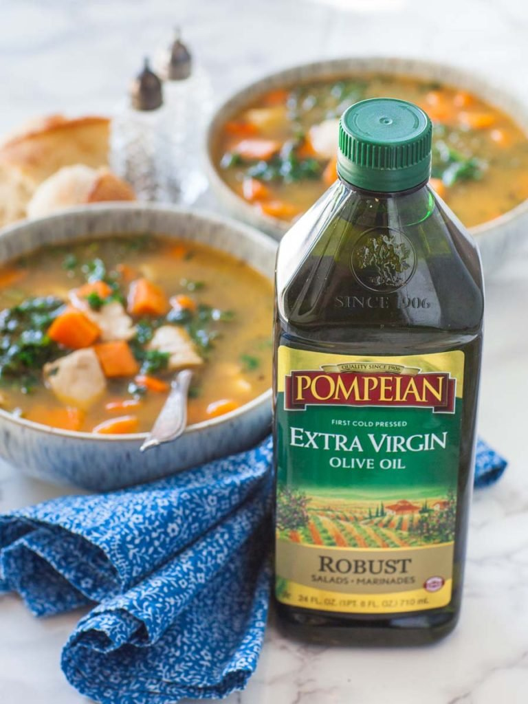 Pompeian Robust extra-virgin olive oil with chicken soup