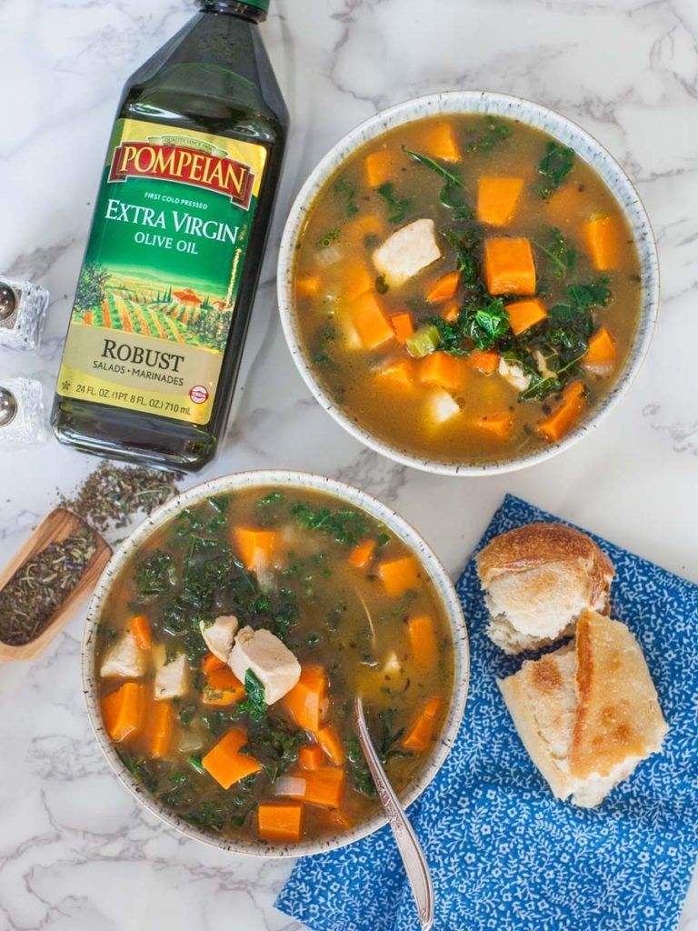 sweet potato soup with kale and chicken, rustic baguette and Pompeian Robust extra-virgin olive oil