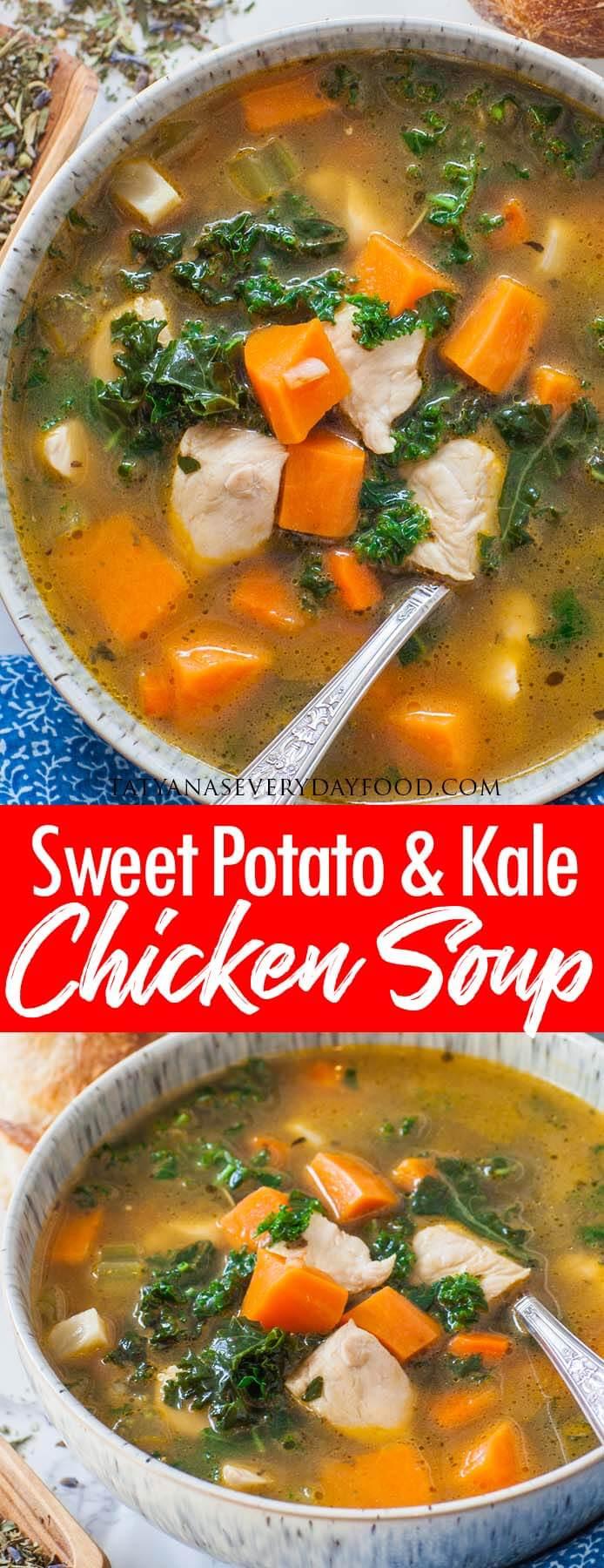 Sweet Potato Kale Chicken Soup video recipe