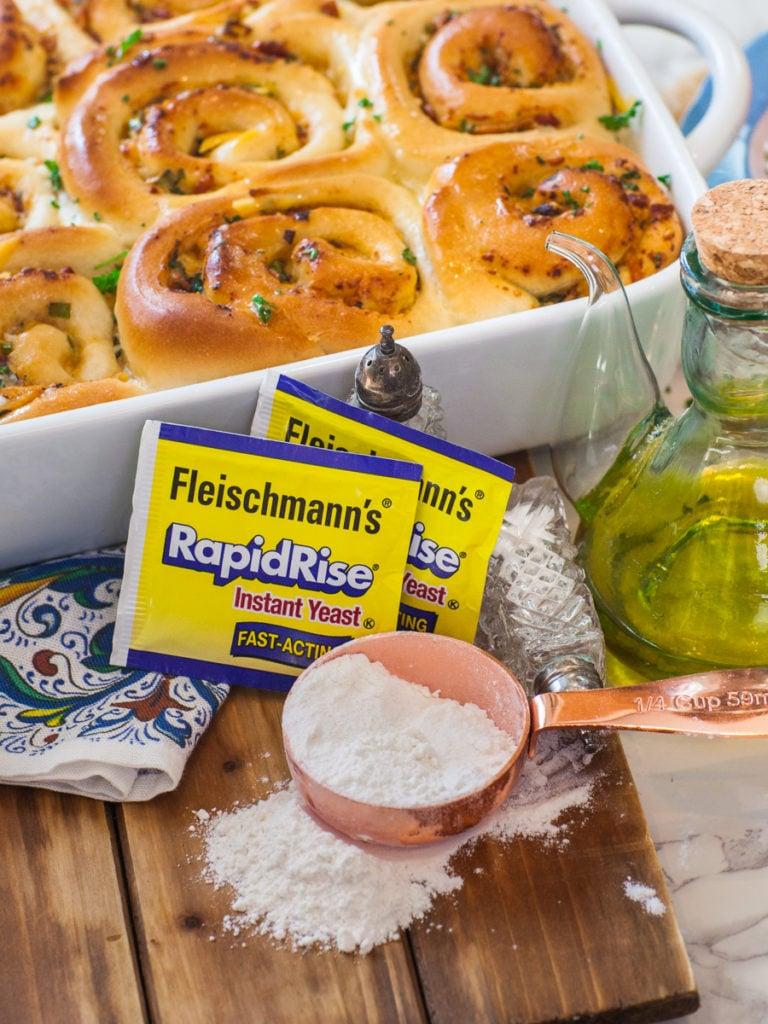 Fleischmann's Yeast with flour and savory rolls