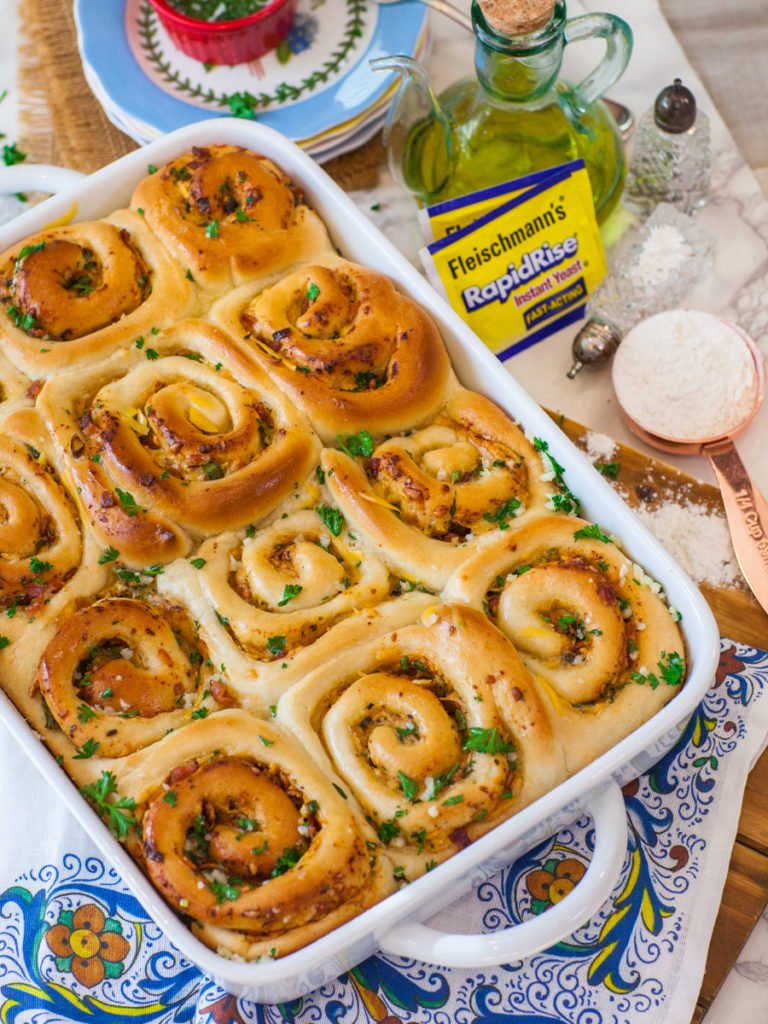 savory cinnamon rolls with bacon, cheddar and garlic butter