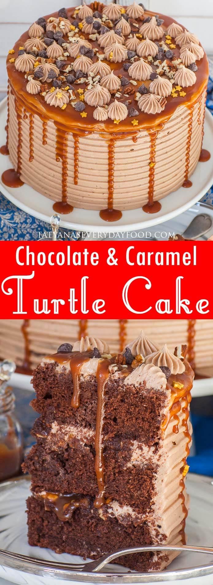 Caramel Chocolate Turtle Cake video recipe