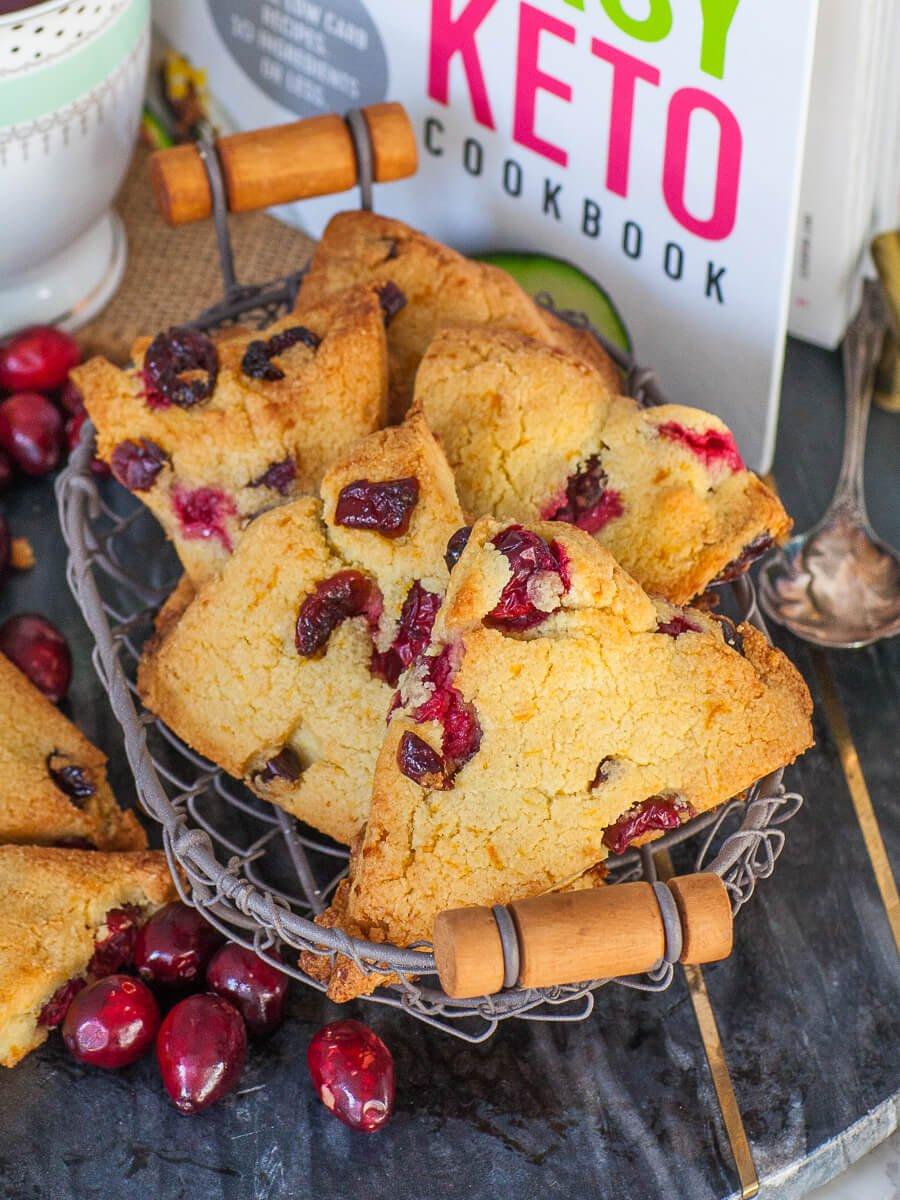 keto cranberry scones with orange zest