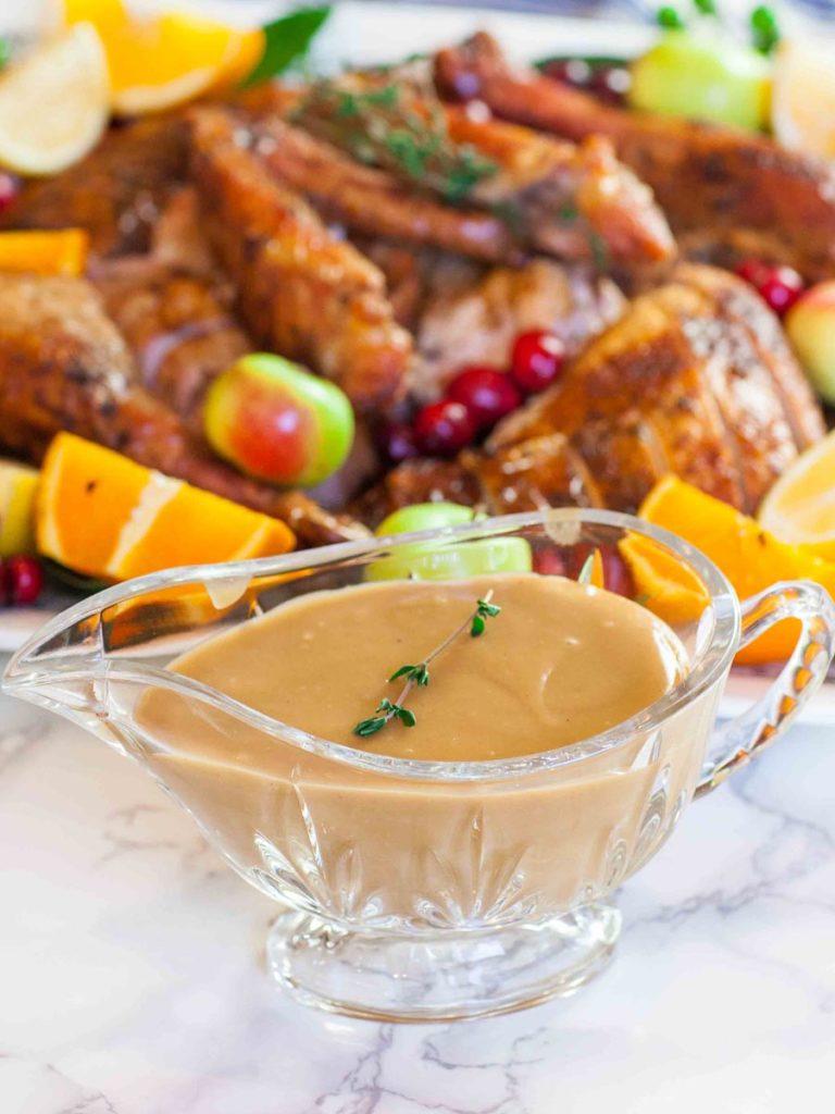 turkey drippings gravy in crystal gravy boat