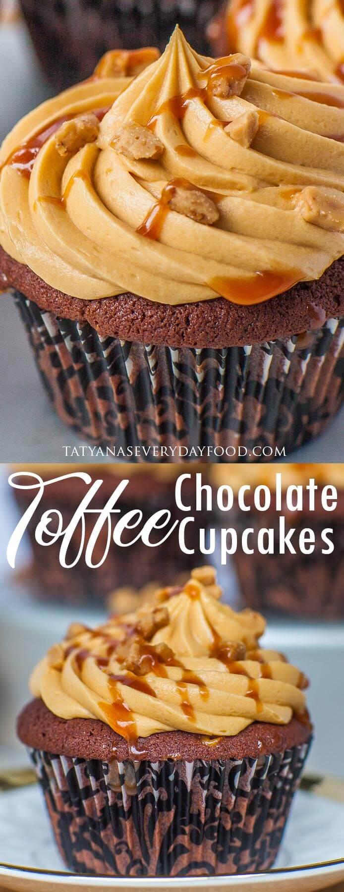 Chocolate Toffee Cupcakes video recipe