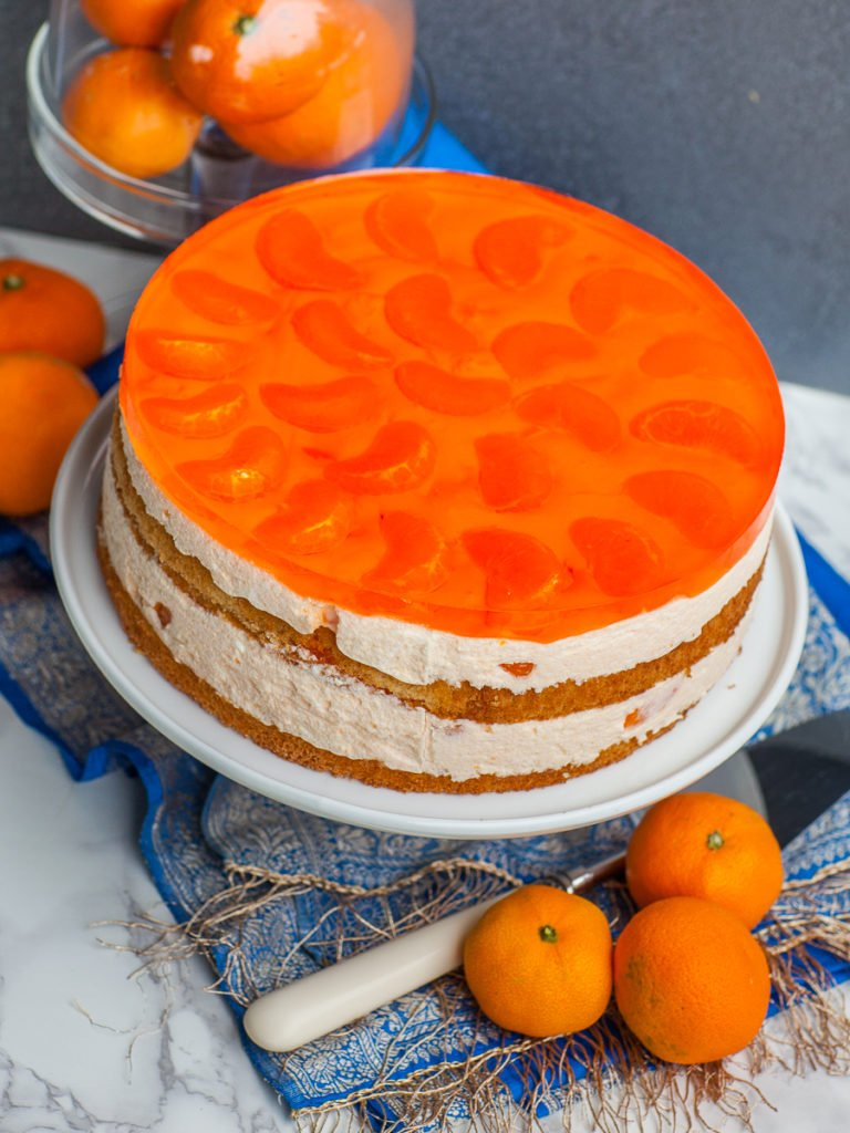 top of mandarin mousse cake with jello topping