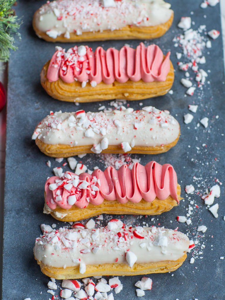 Christmas recipe peppermint eclairs with crushed candy canes