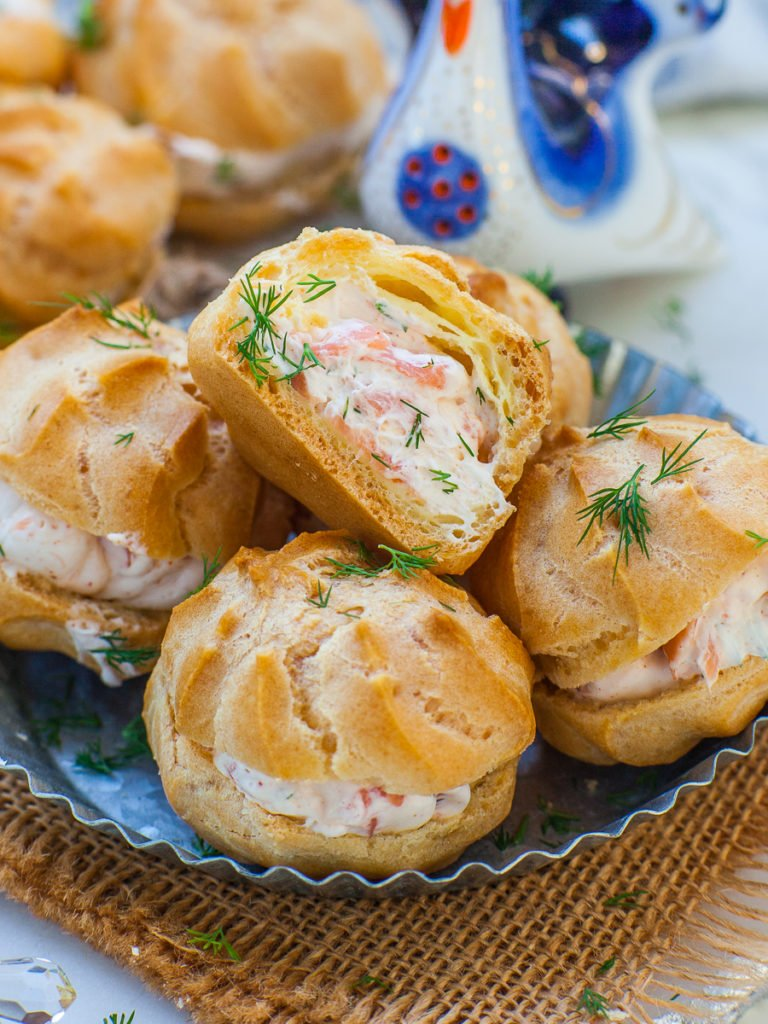 close up of seafood salmon puffs with fresh dill; easy appetizer recipe