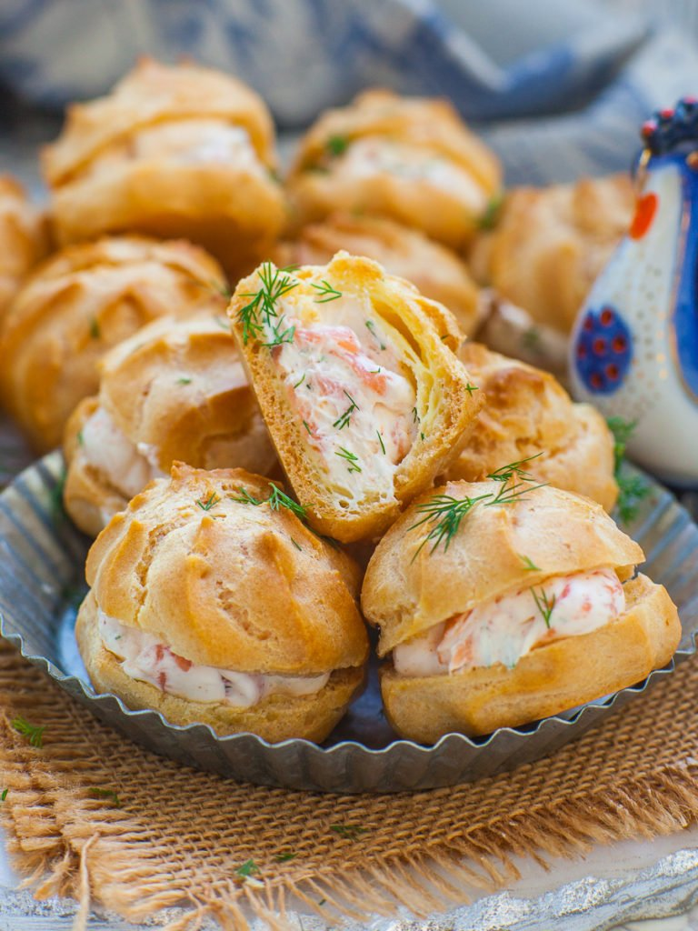 smoked salmon and cream cheese savory profiteroles with dill; salmon puffs