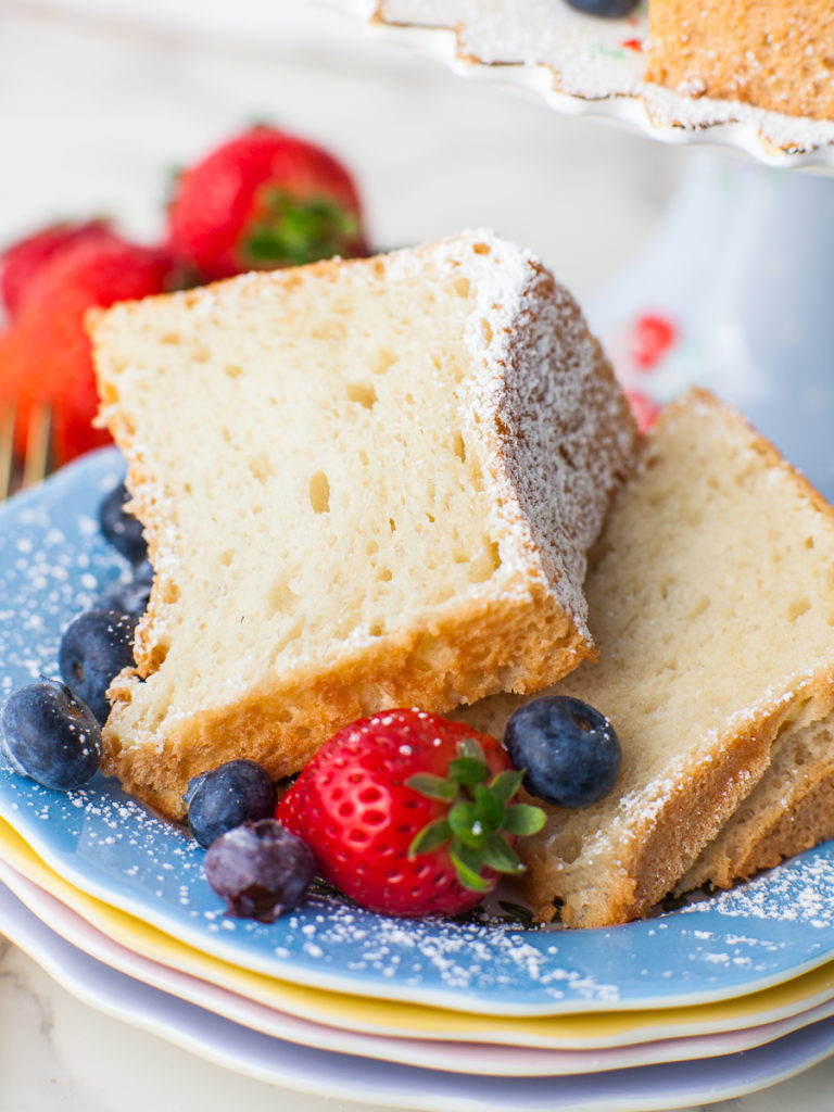 slices of angel food cake with berries