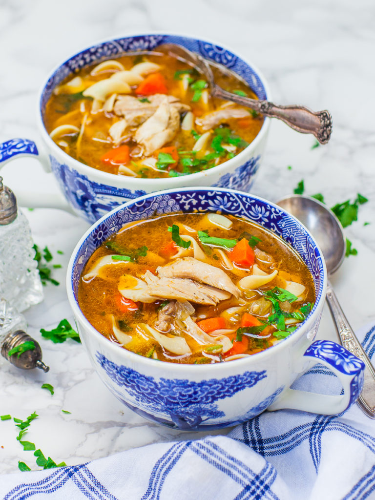 winter soup recipe - chicken noodle soup with bone-in chicken