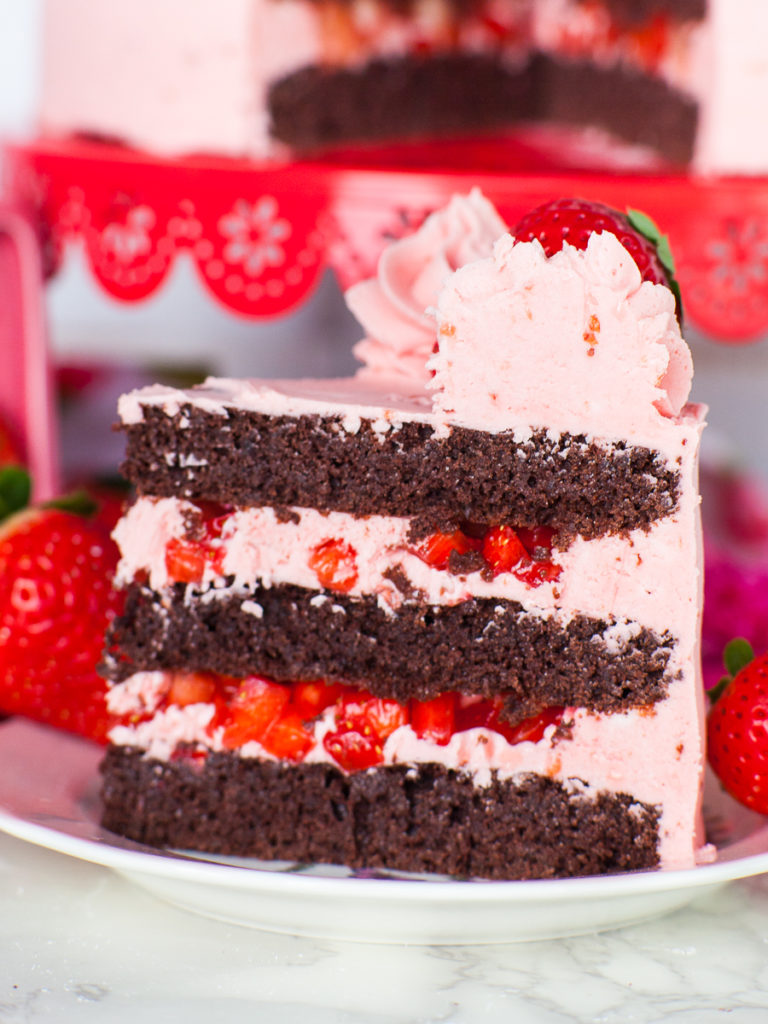 keto chocolate strawberry cake with keto chocolate sponge cake and keto strawberry buttercream
