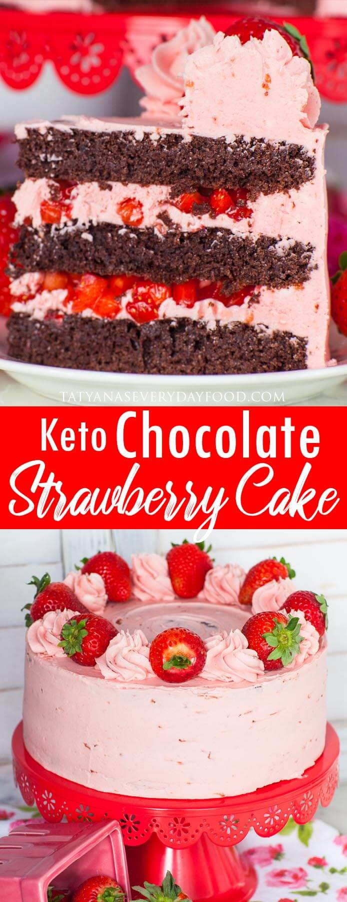 Keto Chocolate Strawberry Cake video recipe