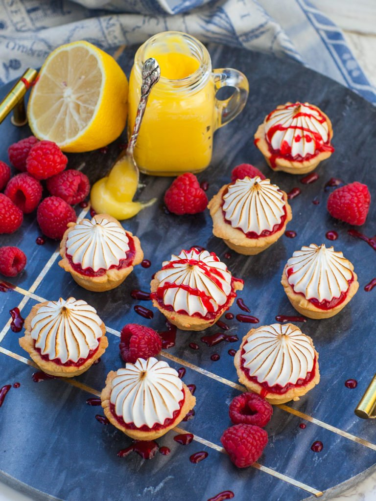 lemon tartlets with raspberry sauce and lemon curd