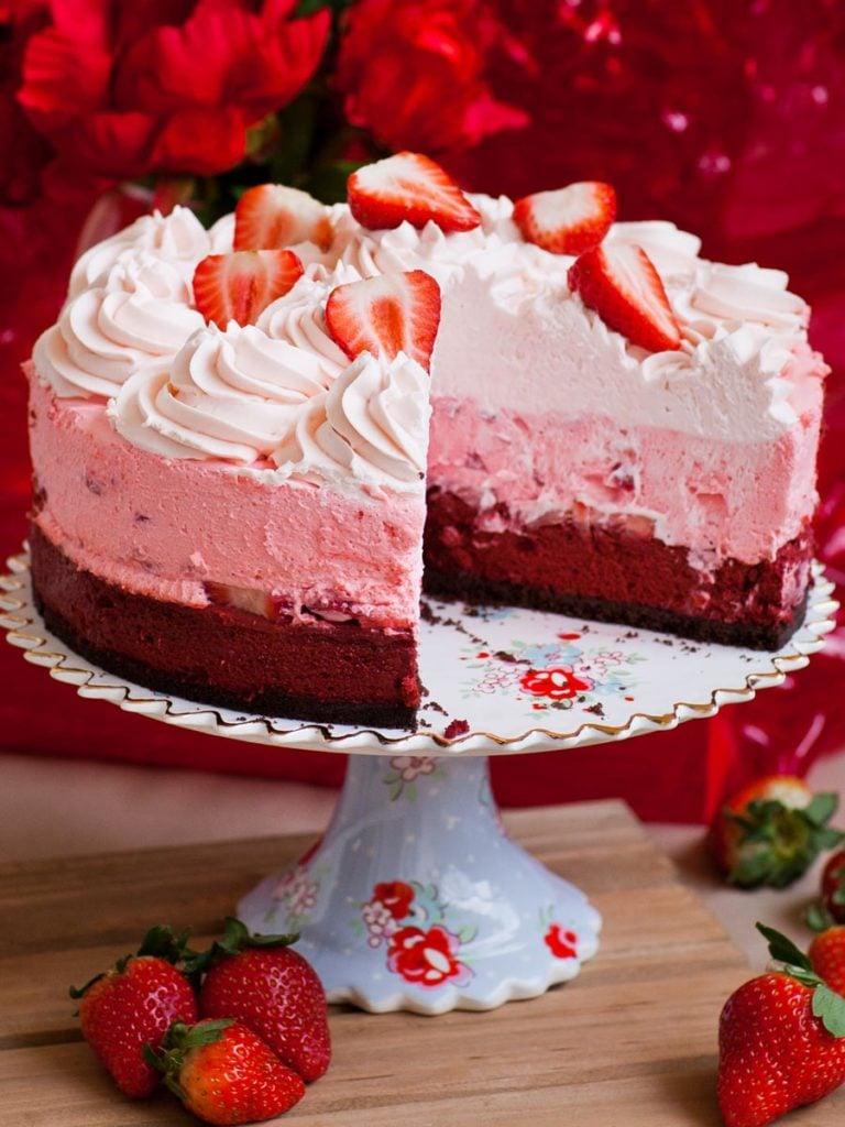 triple layered red velvet strawberry cheesecake