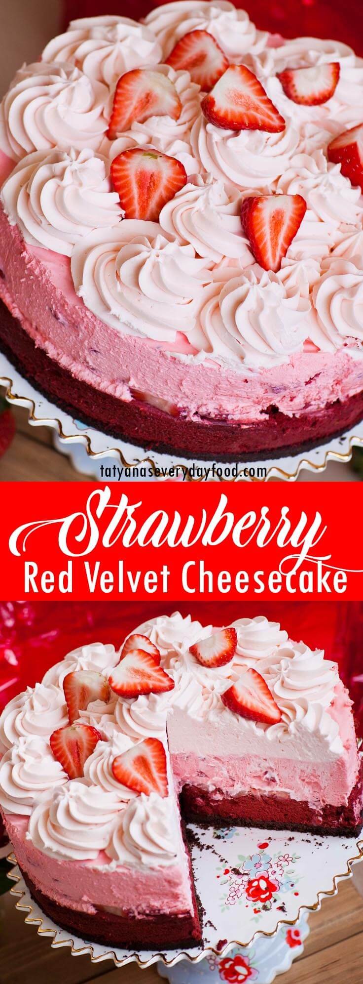 Red Velvet Strawberry Cheesecake video recipe