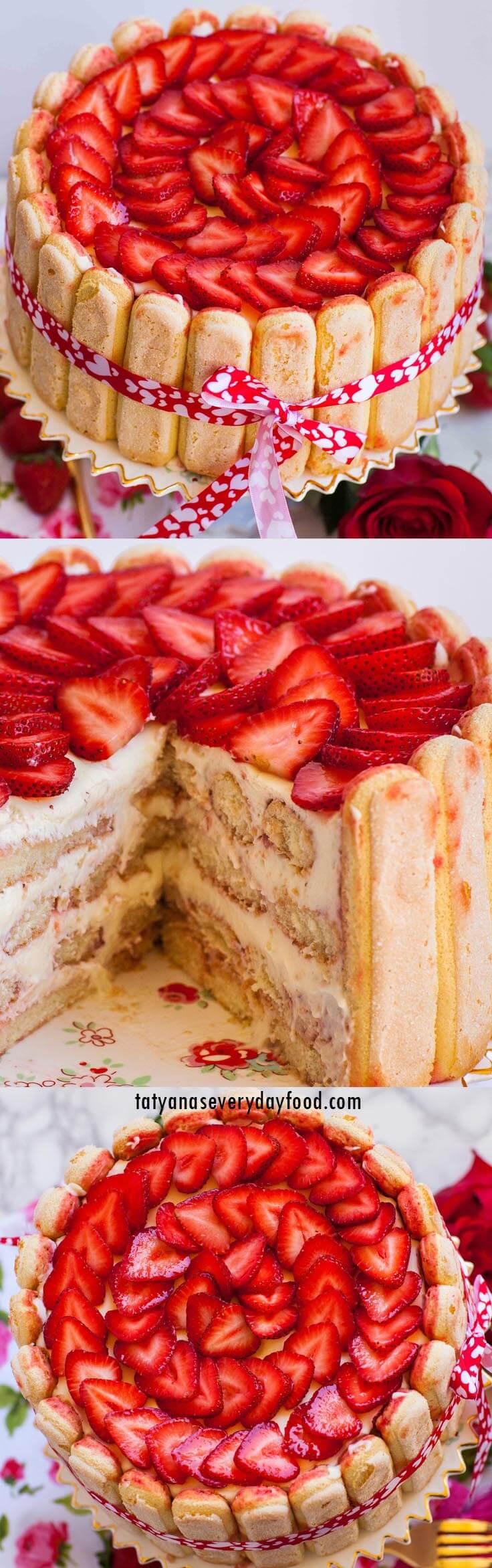 Strawberry Tiramisu Cake video recipe