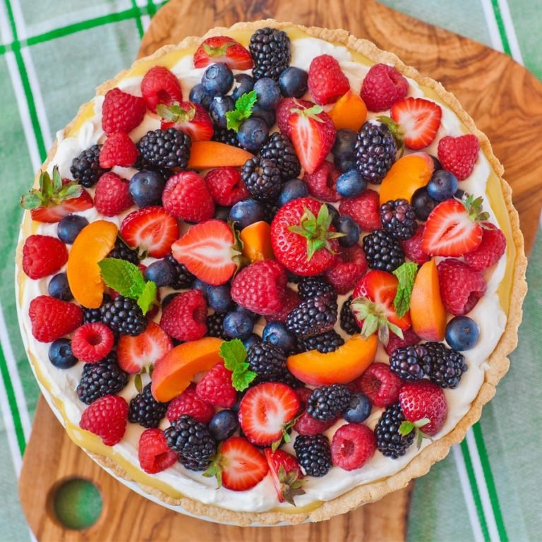 fruit and berry tart with lemon curd, tart crust recipe and cheesecake filling