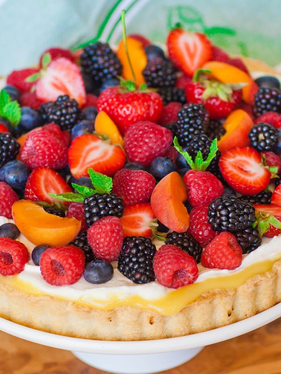fruit tart with berries and lemon