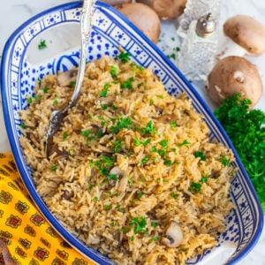 easy rice side dish recipe with mushrooms
