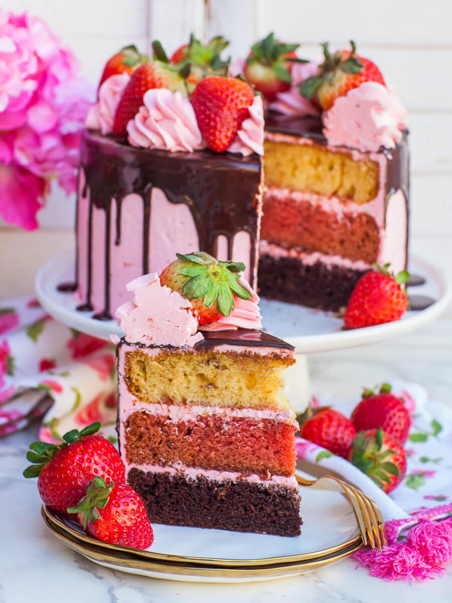Neapolitan cake with strawberry buttercream