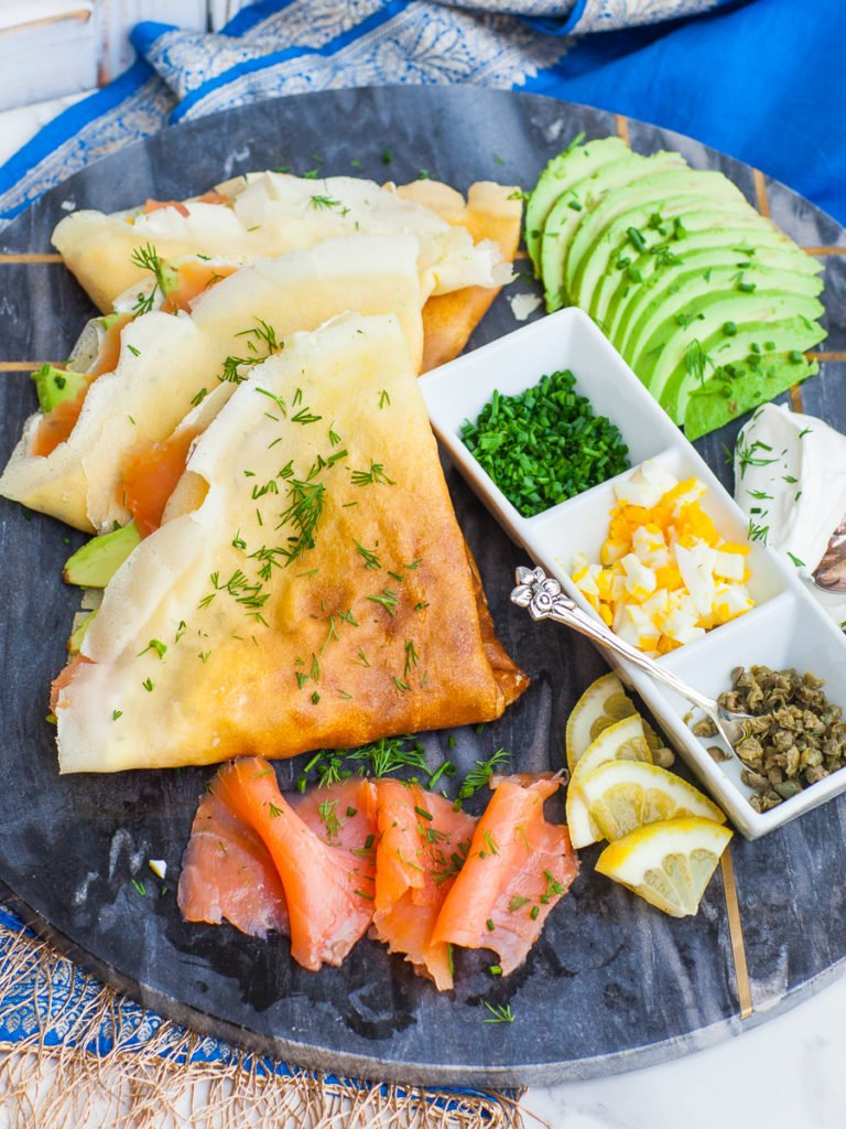 dill savory crepes filled with smoked salmon, avocado, capers; lox crepes