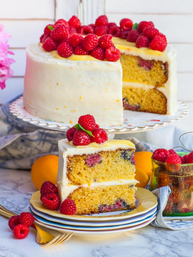 lemon berry cake with lemon buttercream and fresh raspberries
