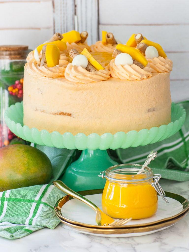 mango mousse cake with fresh mango fruit; fruit cake