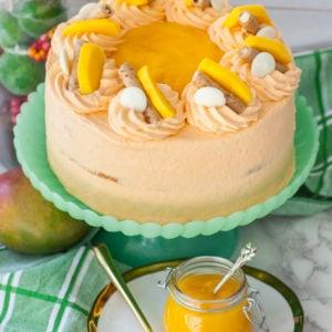 mango cake with mango frosting and fresh mango puree
