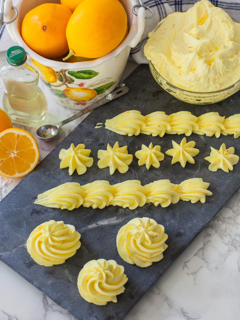 piped lemon buttercream with lemon zest using ateco tip #847