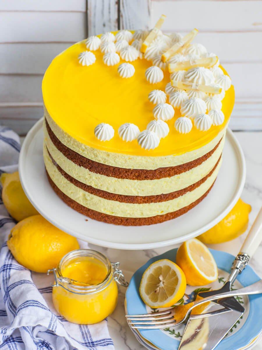 lemon cake with lemon mousse filling and lemon jello topping