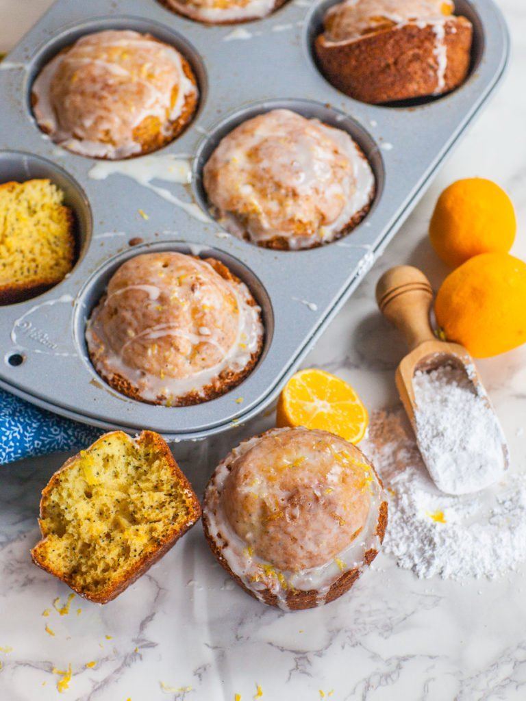 lemon poppy seed muffins with simple glaze