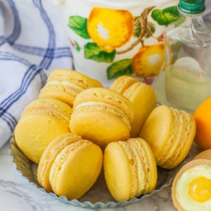 yellow lemon macarons with lemon buttercream