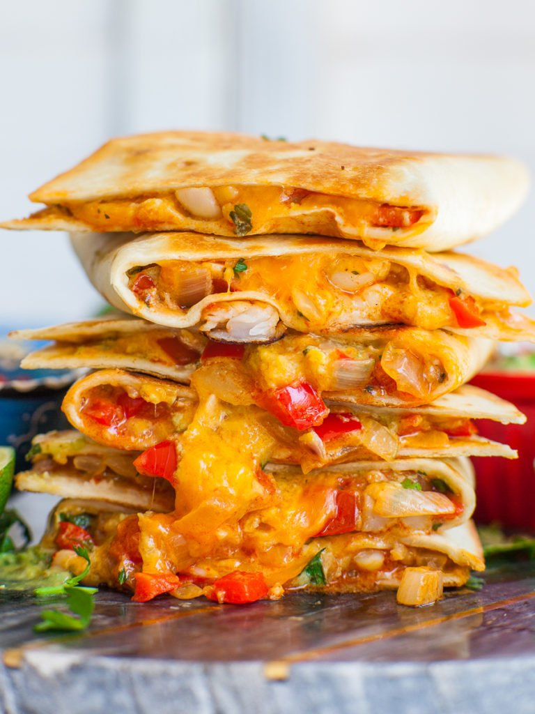 cheese quesadillas with shrimp and bell peppers