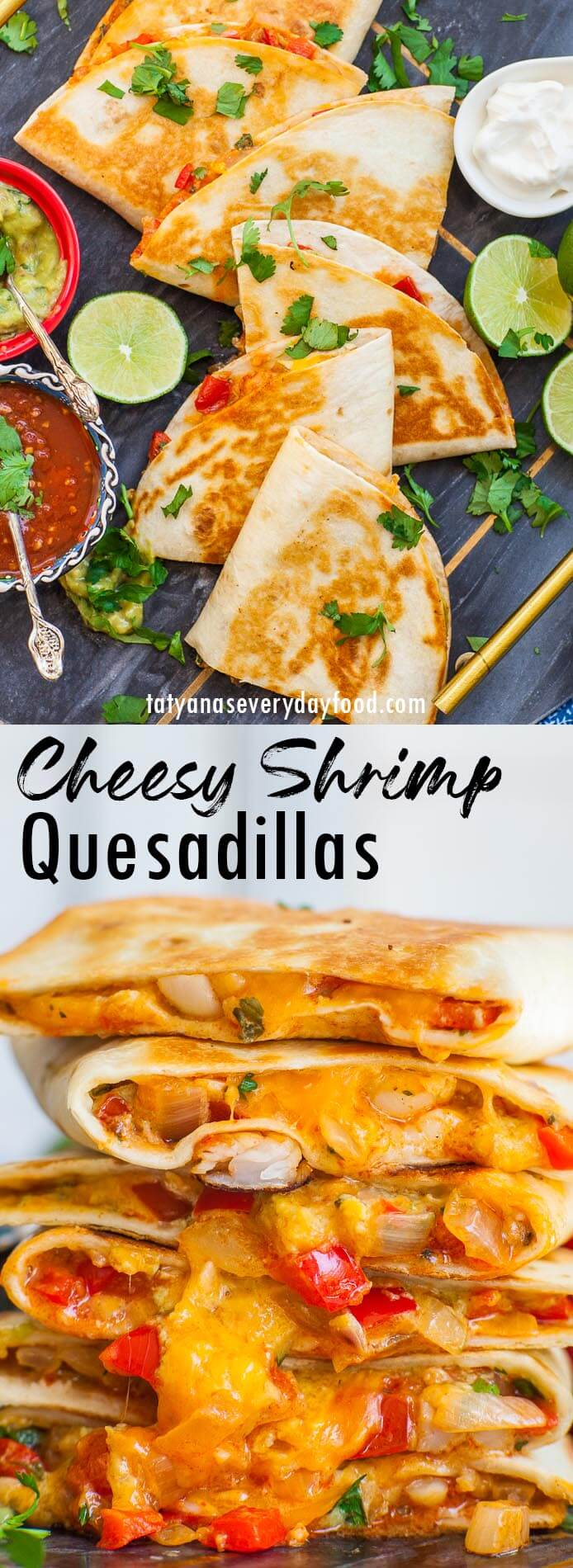 Cheesy Shrimp Quesadillas video recipe board