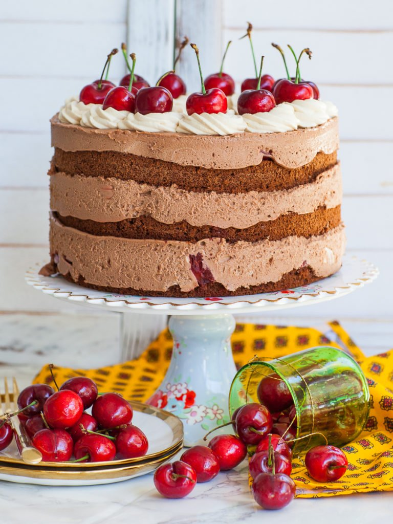 chocolate cherry cake with mousse filling