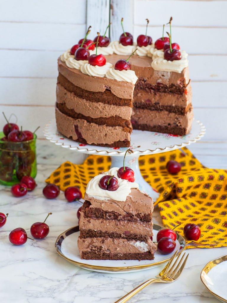 chocolate cherry mousse cake with chocolate mousse and cherries