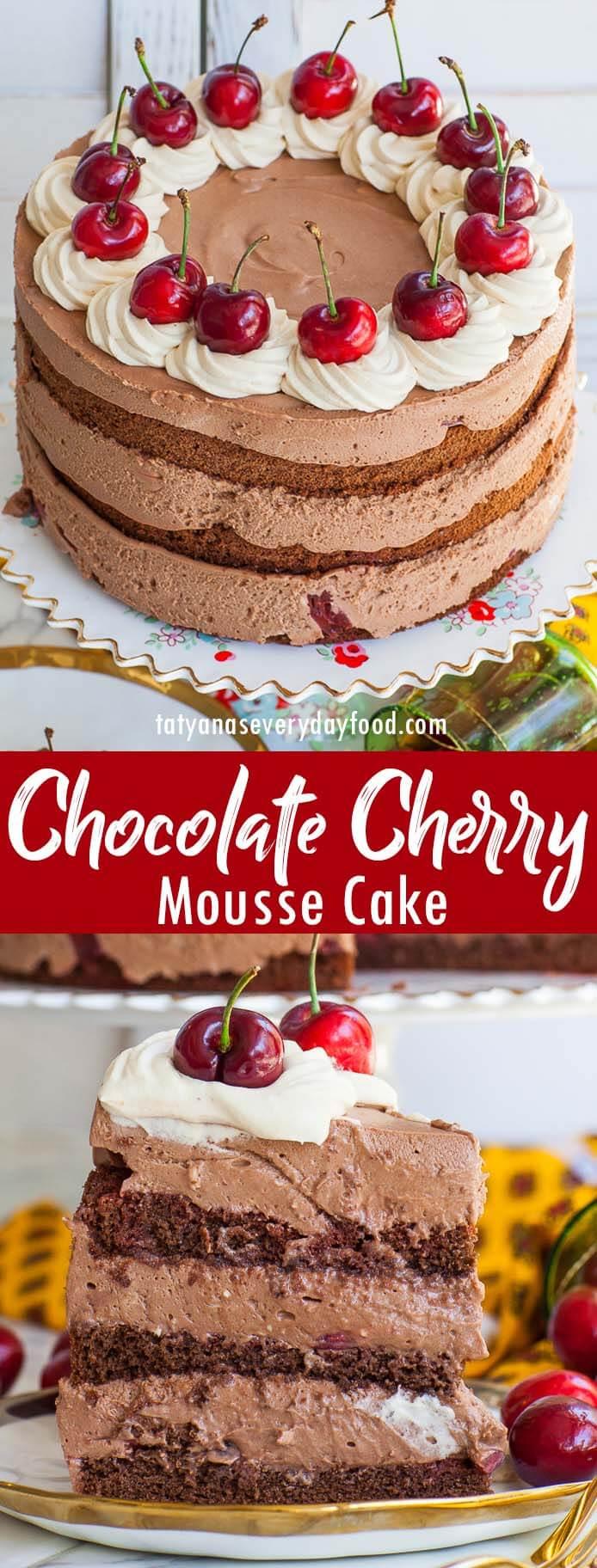 Chocolate Cherry Mousse Cake video recipe