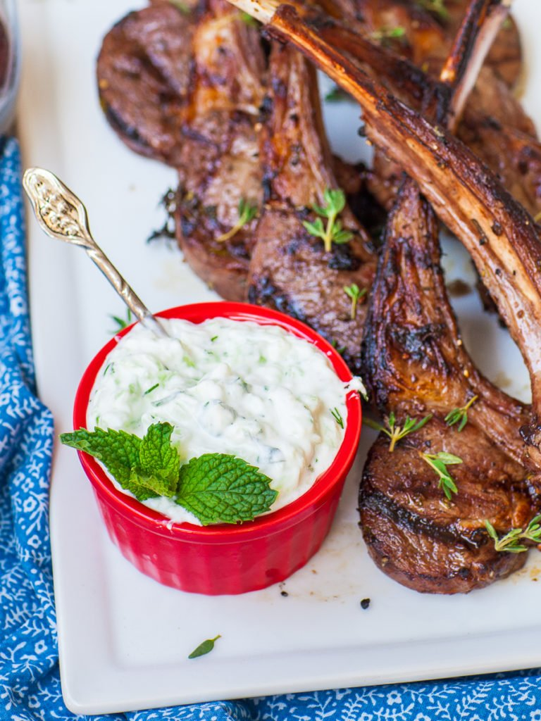 tzatziki sauce with mint and dill with grilled lamb chops
