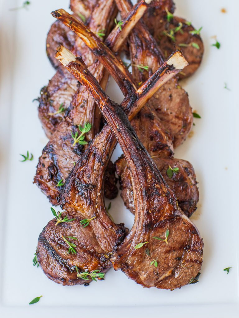 fresh herb and garlic lamb chops grilled