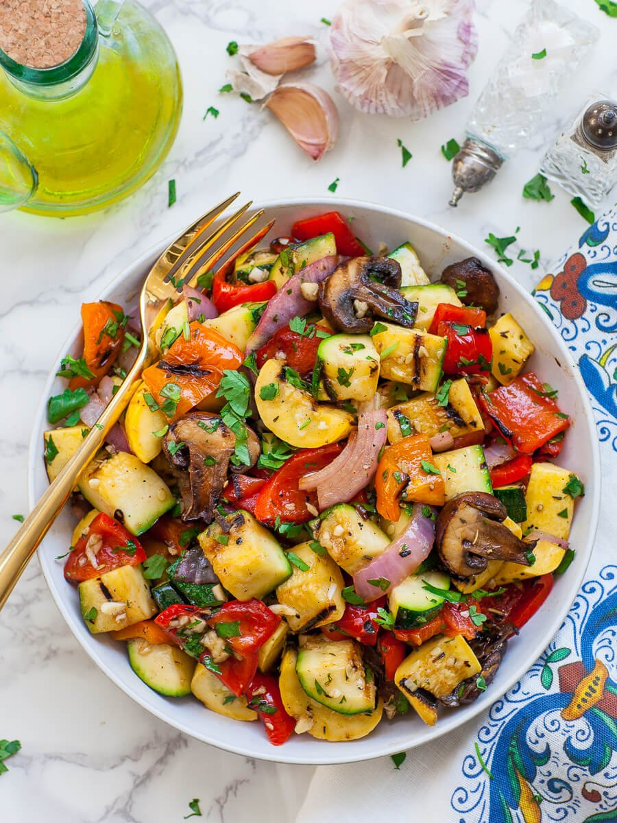 grilled zucchini, grilled bell peppers, grilled mushrooms and grilled red onion with garlic dressing