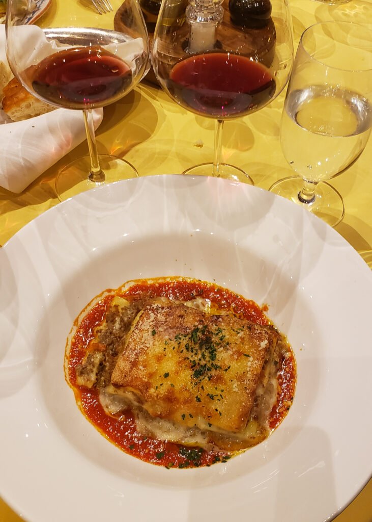 filet mignon lasagna with red wine